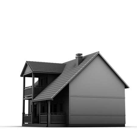 casa colonial: colonial casa aislada en el fondo blanco