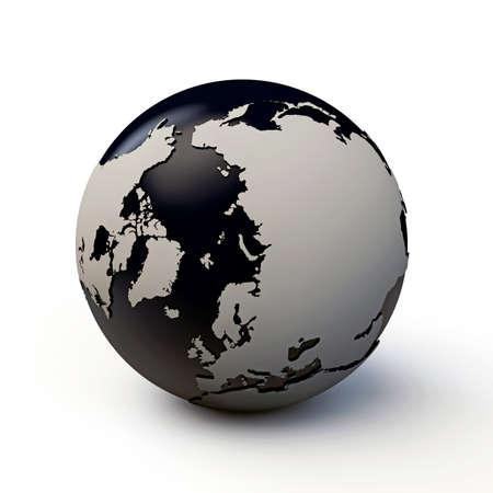 extruded: pianeta terra con i continenti estrusi isolati su sfondo bianco Archivio Fotografico