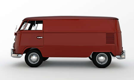 red van isolated on white background photo