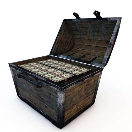 treasure chest with american dollars isolated on white background Stock Photo - 17017667