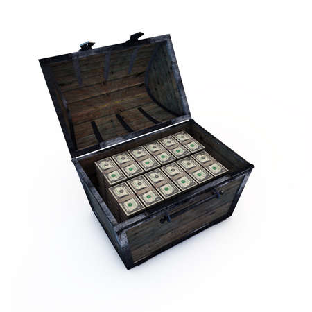 treasure trove: treasure chest with american dollars isolated on white background Stock Photo