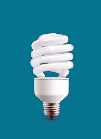 bulb isolated on blue background photo
