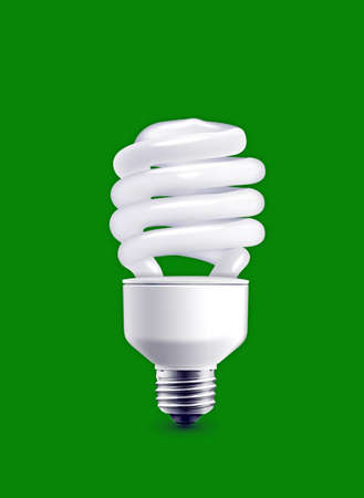 bulb isolated on green background photo