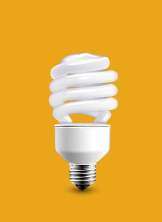 bulb isolated on orange background photo