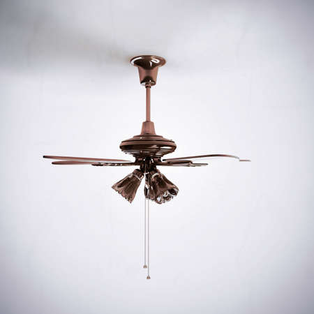 ceiling fan: ceiling fan in old photo isolated on white background