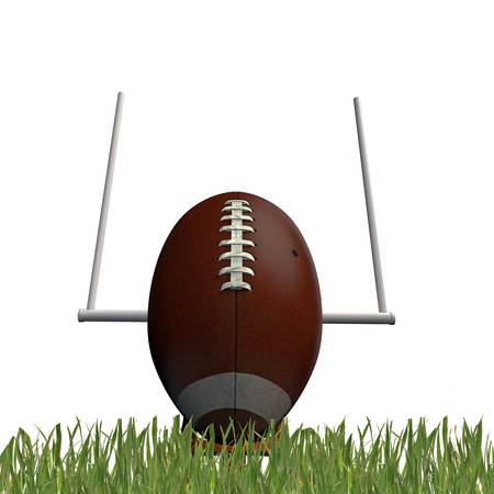 nfl football: football ball on green grass isolated on white background