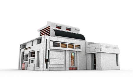 modern house isolated on white background Stock Photo - 17348305