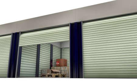 storage units isolated on white background photo
