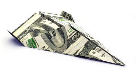 dollar airplane isolated on white background