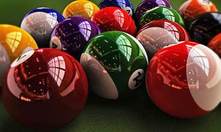pool balls on green table