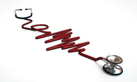 red stethoscope isolated on white background Stock Photo - 18134904