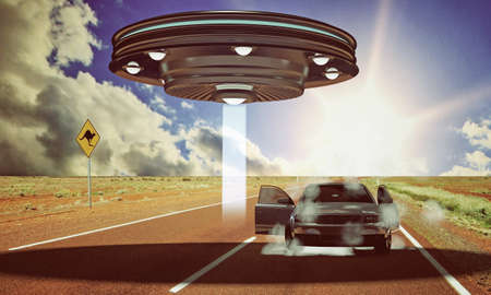 ufo abduction in the desert Stock Photo - 18811583