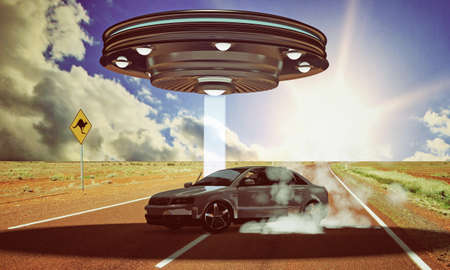 ufo abduction in the desert Stock Photo - 18811584