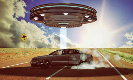 ufo abduction in the desert Stock Photo - 18811577