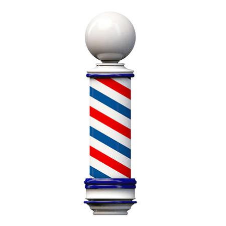 barbershop: oude kapperspool ondertekenen geïsoleerd op witte achtergrond Stockfoto