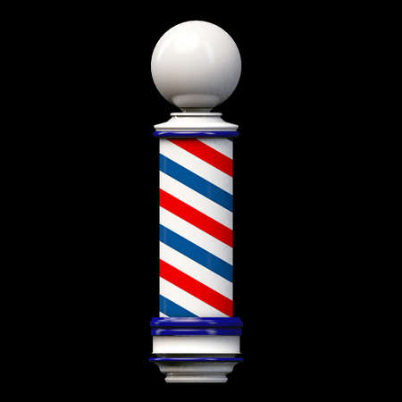 barber: old barber pole sign isolated on black background