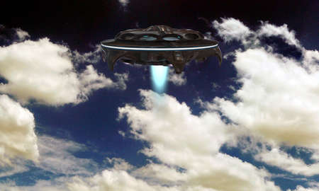 ufo spaceship flying in a cloudy sky photo