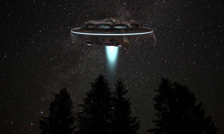 visitors area: ufo spaceship flying over a forest in the night