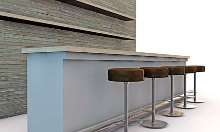 night club interior: bar counter with chairs isolated on white background