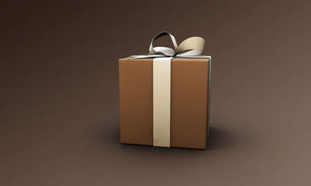 small gift box isolated on brown background Stock Photo - 19288538
