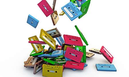 cassette tapes falling on white floor