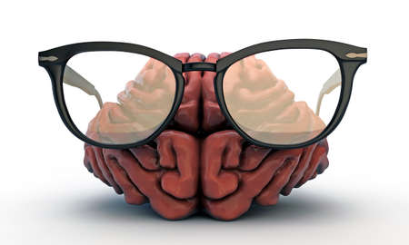 solver: big brain with black glasses isolated on white background