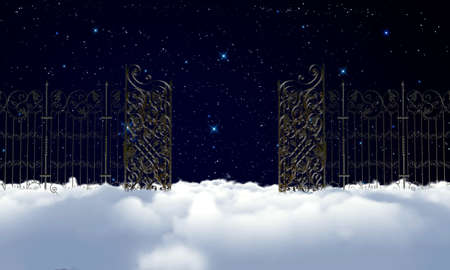 pearly gates: heaven gate at night