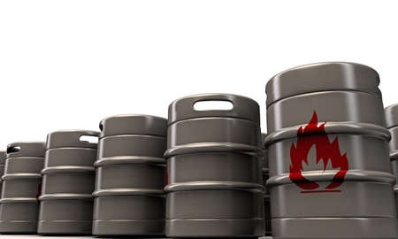 barrels with flame sign photo