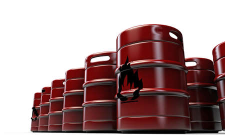 barrels with flame sign isolated on white background photo