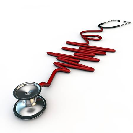 red stethoscope isolated on white background Stock Photo - 19730268