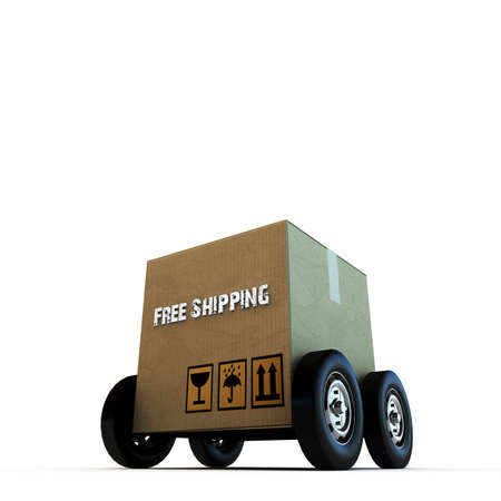 removals: cardboard box on wheels isolated on white background