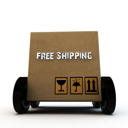 removals boxes: cardboard box on wheels isolated on white background