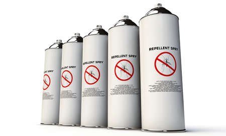 debugging: repellent spry for mosquitoes isolated on white background