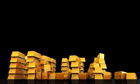 gold ingots isolated on black background