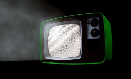 old haunted tv isolated on black background photo