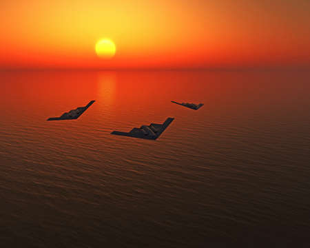 stealth fighters over the sea photo
