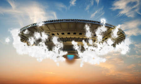 alien spaceship up in the sky photo