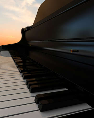 piano keys under the blue sky photo