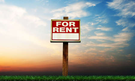 renter: for rent sing on green grass