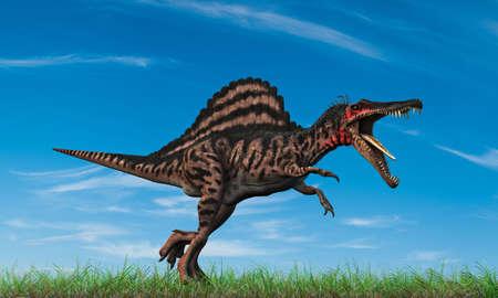 spinosaurus: spinosaurus running into the wild
