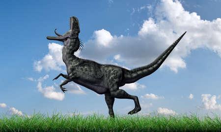 녹색 잔디에서 실행 monolophosaurus