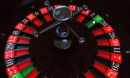 ruleta de casino: ruleta del casino con la bola blanca en cero