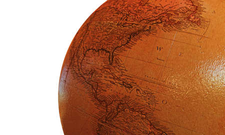 globe terrestre dessin: globe en bois isol� sur fond blanc