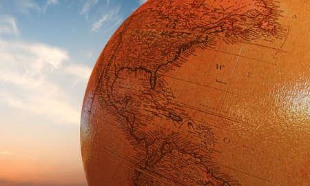 globe terrestre dessin: globe en bois Banque d'images