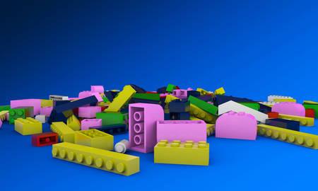plastic bricks: plastic bricks isolated on blue background