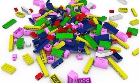 plastic bricks: plastic bricks isolated on white background