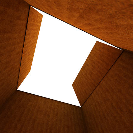 empty open cardboard box isolated on white  Standard-Bild
