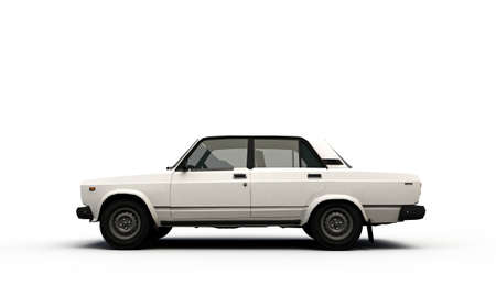 old car profile isolated on white background photo
