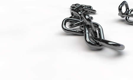 broken link: chrome chain isolated on white background Stock Photo
