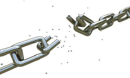 cadena rota: cadena rota aislados sobre fondo blanco